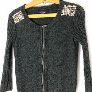 AEO slate gray bling knit full zip sweater sz M